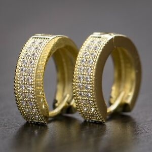 14K Gold Iced 5A Cz Round Clip On Sterling Silver Huggie Hoops Earrings For Men