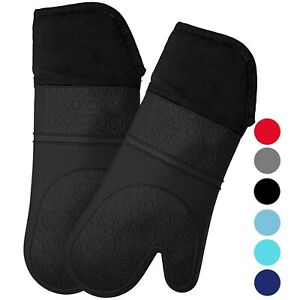 HOMWE Extra Long Professional Silicone Oven Mitt, Oven Mitts with Quilted Lin...