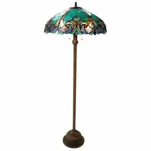 Tiffany Style Floor Lamp Victorian Design Reading Turquoise Amber Stained Glass