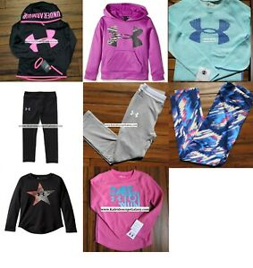 HUGE LOT GIRLS SIZE 5 UNDER ARMOUR ~ 8pc WINTER HOODIE SWEATSHIRT LEGGINGS $253
