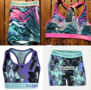 UNDER ARMOUR YOUTH XL~ FITTED SHORTS ~ SPORTS BRAS ~ PURPLE BLACK GRAY $100
