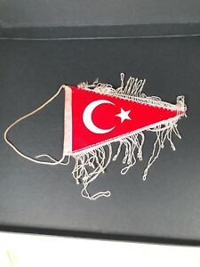 Turkish Turkey Triangle Flag Pennant Vintage Red Crescent Star