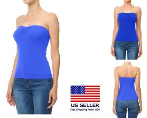 Womens BASIC Stretch Sleeveless PLAIN Strapless TUBE TOP Bandeau Tee