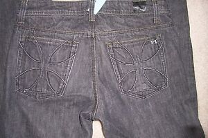 MENS SIZE 34 X 30 HABITUAL BLACK DENIM JEANS BOOTCUT BUTTON FLY USED