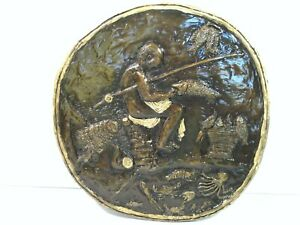 Nice BRONZE FISHING SCENE RELIEF PLAQUE ART SIGNED Hutton to AJ CAMPBELL $295.00