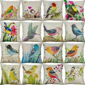 Cover Home Waist Style 18#x27;#x27; Cushion Linen Pillow Cotton Decor Case Bird Sofa $3.09