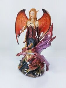 Red Fairy Pixie with Purple Dragon Fantasy Figurine 91277