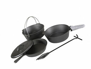 Cast Iron Cookware Set Pre Seasoned Kitchen Cooking Lids Fry Pan Skillet Camping