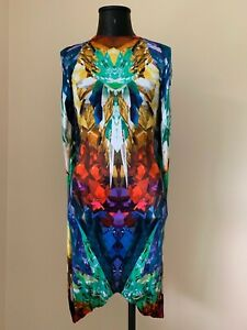 ALEXANDER MCQUEEN MULTI COLOR CRYSTAL KALEIDOSCOPE DRAPED DRESS.Sz.38/XS