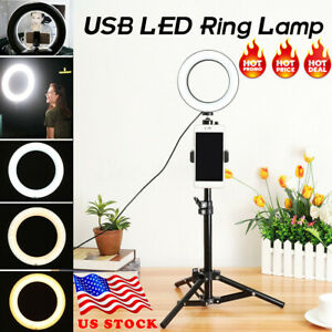 Portable Ring Light LED Camera Lamp+Tripod Stand Phone Holder for YouTube Video