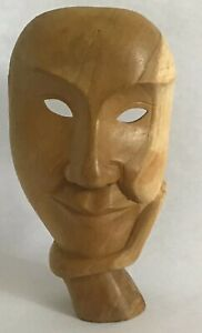Quiet Moment Mask Face in Hand Sculpture Art Deco Modern Wood Statue Indonesia $49.90