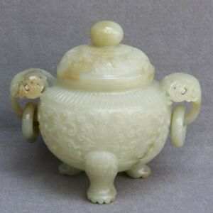 Chinese Exquisite Hand carved Hetian jade incense burner