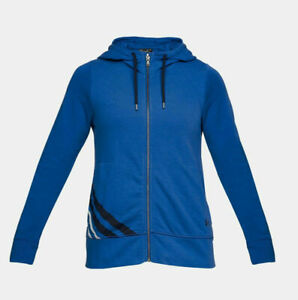 NWT $60 Under Armour Womens Blue French Terry Full Zip Hoodie Jacket 1316115-984