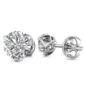 14k White Gold 3-Prong Designer Diamond Stud Earrings - 2.00 ct D-SI1  Screw Ba