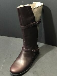New Teva Delavina Tall Women Burgundy Leather Boots Waterproof Size US 8 EU 39 $67.20