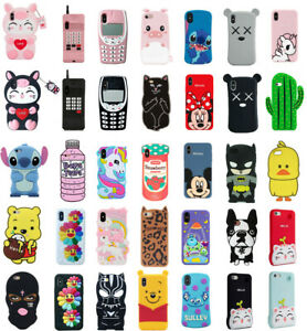 Case Cover For iPhone 5 7 8 Plus XS XR XS MAX Cute 3D Cartoon Silicone Kids Skin