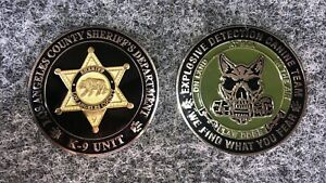 """K9 challenge coin. New Coins 1 3/4"""" LASD EOD K9 Los Angeles County Sheriff"""