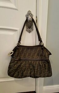 FENDI Monogram Shoulder Designer Handbag AUTHENTIC