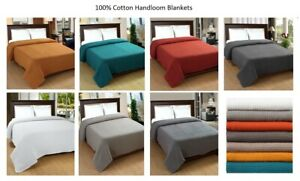 Cotton Bed Blanket 100% Soft Luxurious Thermal Twin Queen King Excel Hometex $36.95