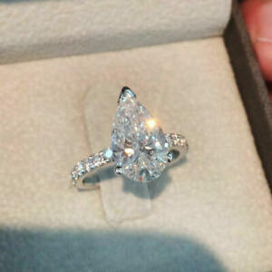 Solid 10K White Gold Engagement Wedding Ring 2.50ct Pear & Round Cut Diamond