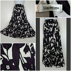 Kaleidoscope skirt size 14 purple white floral Maxi Panelled flared linen mix VG