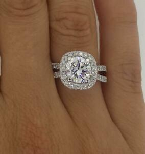 3 Carat Round Cut Halo Diamond Engagement Ring SI1F White Gold 14k