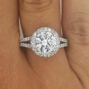 3.5 Carat Round Cut Halo Diamond Engagement Ring VS2F White Gold 18k