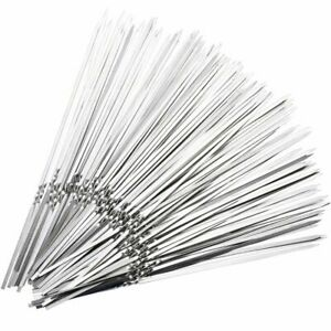15pcs Stainless Steel BBQ Meat Sticks Long Grill Food Skewers Barbecue Needles