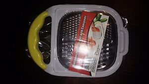 Multi-functional Grater with container White container with Yellow handle