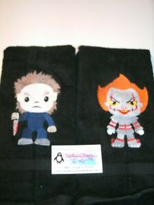 Pennywise & Michael Horror Personalized Dish Kitchen Hand Towels ANY COLOR