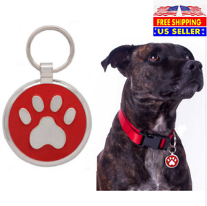 Paw print Laser Custom Engraved Dog Cat tags Personalized Free Split Ring $6.99