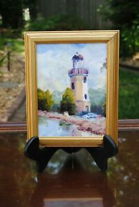 Pretty quot;Lakeside Summerquot; Oil Painting Of Lighthouse Signed $32.99