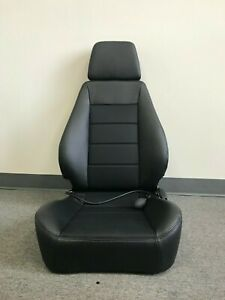 Corbeau Sport Black Leather Reclining Driver Side Seat w/ Lumbar Support BLEM
