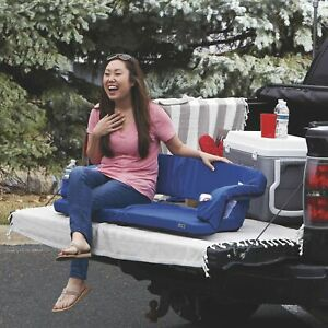 Picnic Time Portable Folding 2-Person Tailgate Vehicle Couch Seat Loveseat- Blue