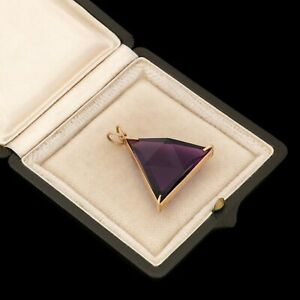 Antique Vintage Deco 18k Yellow Gold Siberian Amethyst Geometric Prism Pendant