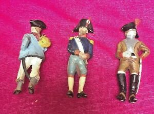 Lot 3 Antique French~Colonial~Revolutionary War Cold Painted lead soldier figure