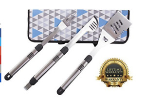 DIMEL Stainless Steel BBQ Grill Set with Multi-Use Spatula, Tongs, Meat Fork,