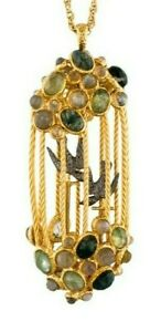 Alexis Bittar Necklace CAGE Bird Pendant 18K Gold Plate Gems Agate NEW