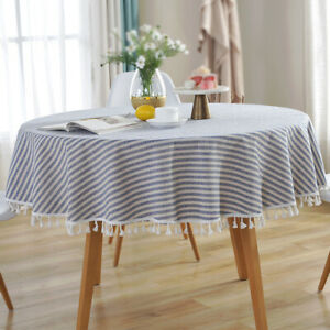 Round Colorful Tassel Table Cloth Cotton Household Garden Dining Tableware #G