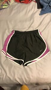Nike Dri Fit Running Shorts Women's Small Purple And Gray Work Out Lined Shorts