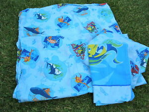 SHARK TALE Twin Bed SHEET SET Dreamworks 3 Pc Set Flat Fitted Sheets Pillowcase