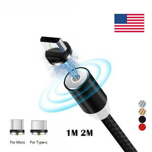 360° Magnetic Type-C Micro USB Charging Charger 1m 2m Cable Adapter For Android