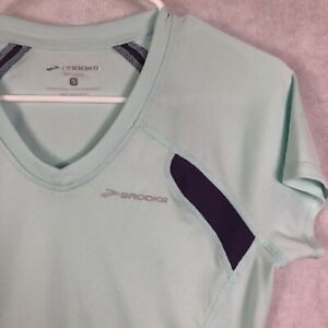 Brooks Woman PolyesterSpandex Light Blue Purple Sides V Running Shirt Top Sz S