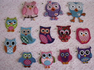 OWL Iron or Sew on Patches, 2 PIECES, Various Styles, ACCESSORIES,APPAREL,CRAFTS
