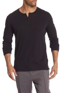 M038 NWT VINCE HENLEY LONG SLEEVE MEN TEE SHIRT SIZE S,M,L, XL in BLACK $95