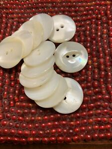 Antique Mother of Pearl Hand Carved Fisheye 12 Buttons A PIECE OF HISTORY