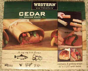 Western Premium BBQ Products Cedar Grilling Wraps - 8 Per Pack -USA- Save on 2+