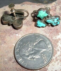 ANTIQUE, STERLING SILVER AND HAND WORKED TURQUOISE, ZUNI EARRINGS, SCREW BACKS