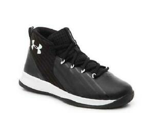 Under Armour Lockdown 3 Kids Sz 13 - Basketball Shoes Mid Top Black 3020431