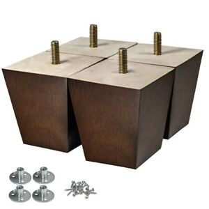 4pcs 3 Inch Wooden Furniture Legs Square Sofa Legs For Cabinet Ottoman Couch